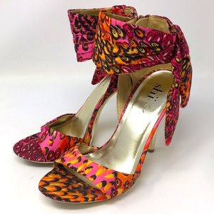 Shi by Journeys Pumps Heels Gold Peacock Pink 7.5